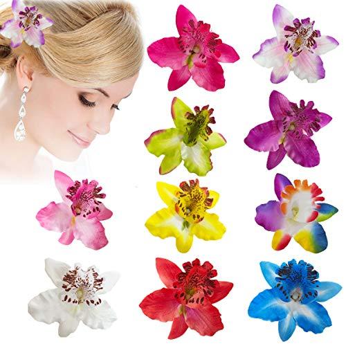 10 Horquillas para el Pelo con Diseño Flores Multicolor de Doble Orquídea,Clips de Pelo de Flor,Pinzas Hawaianas de Flores,Clip de Pelo de Flor Rosa Wedding Nupcial Beach Suministros de Decoración