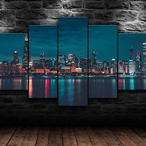KOPASD Quadro Multipannello su Tela 5 Pezzi Chicago City Nightscape. Tipo 200x100 cm