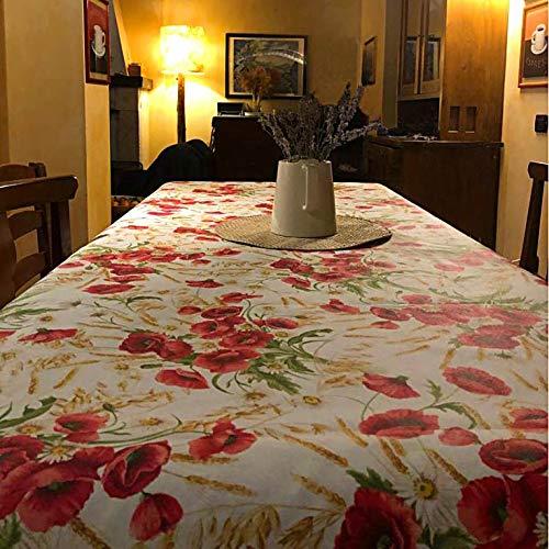 Manifattura Toscana Tovaglia Cotone Antimacchia Liquidproof - Basta Una spugnetta per Pulire Le Macchie - Rosso, Rotondo x6