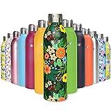 ANSIO Botella de Agua, Frasco de vacío y de Acero Inoxidable Botella de Bebidas con Aislamiento Doble Pared Botella de Agua Caliente y fría sin BPA al Aire Libre - 500ML -Patrón Tropical