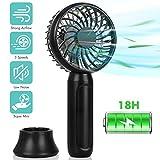 Mini Ventilateur à Main Portable, Ventilateur de Bureau de Poche Rechargeable de 2000 mAh avec Flux d'Air Puissant, Ventilateur Personnel à Base Amovible à 3 Vitesses pour Intérieur et Extérieur