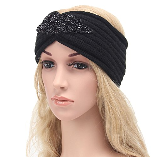 ikulilky tejer–Cinta para Twist Mujer Invierno Head Wrap oído calentador elástico Turbante cinta pelo joyas, color negro, tamaño talla única