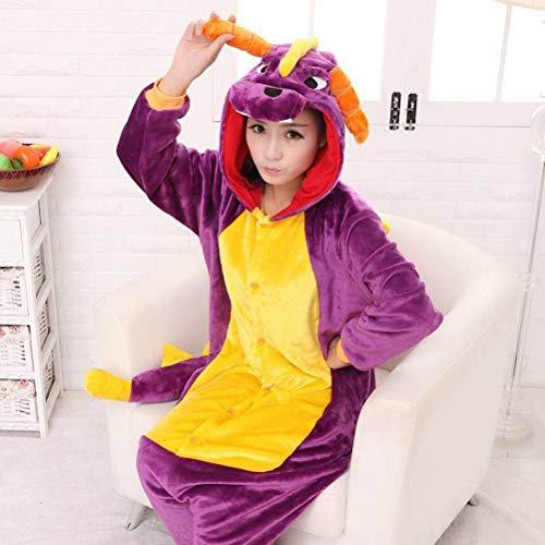 Unisex pyjama volwassen dier onesies flanel dikke paarse draak Cartoon eendelige pyjama ' s, JUSTTIME M Purple Dragon