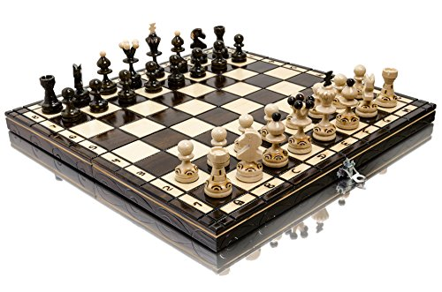 Stunning PEARL 35cm / 13.8in Popular European Wooden Chess Set! Hand Crafted Pieces and Chessboard by Master Of Chess