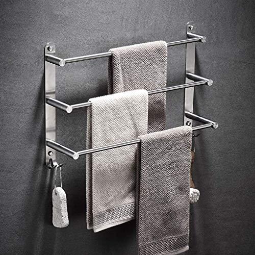 Portasciugamani da parete a 3 livelli da bagno, portasciugamani in acciaio inossidabile 304 spazzolato, barra portasciugamani multifunzione con ganci 80 cm, 50 cm