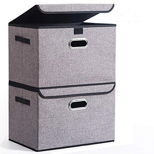 Seckon Collapsible Storage Box Container Bins with Lids Covers2Pack Large Odorless Linen Fabric Storage Organizers Cube with Metal Handles for Office Bedroom Closet Toys
