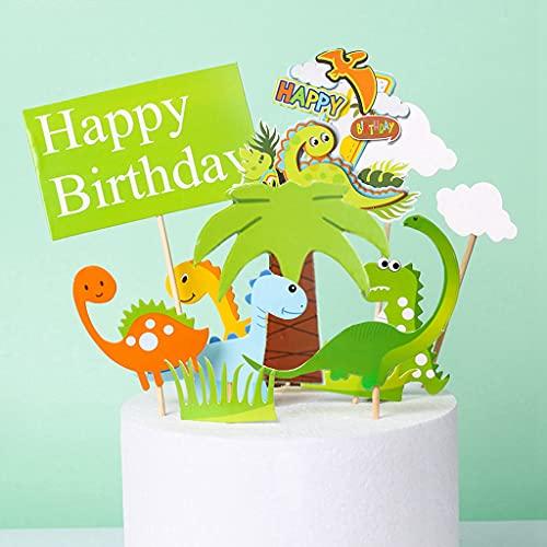 Conruich 12 Pcs Dinosaure Cake Topper Joyeux Anniversaire Topper Zoo Cake Topper Dinosaure Fêtes À Thème Décoration Gâteau D'anniversaire Pour Garçons Et Filles Fêtes D'anniversaire Décoration Gâteau
