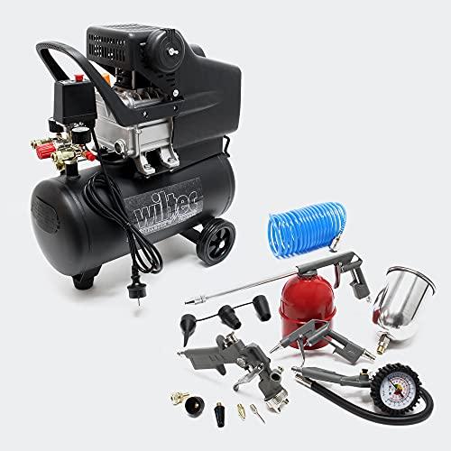 Compresor 24L con set 13 herramientas aire comprimido Hinchador neumáticos Pistola pintar Rociadora