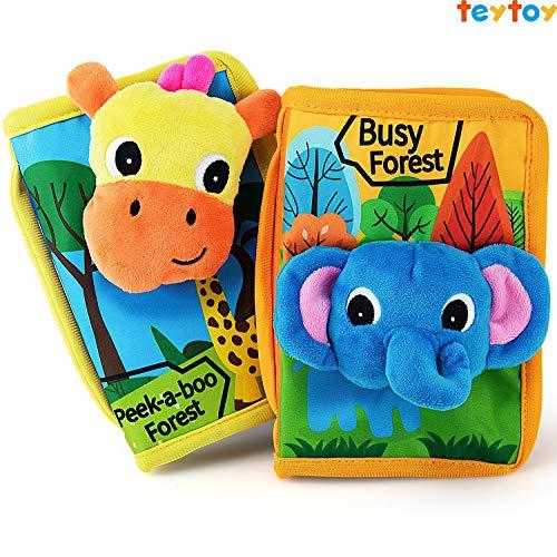 teytoy Mein erstes Knisterbuch Stoffbuch Stoffbücher Fühlbuch Baby Spielzeug ab 0 Monate, 2 Pack (ministeps Bücher: englische Version)