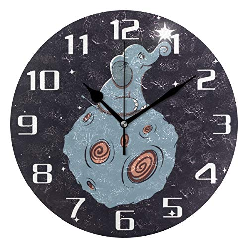 F17 - Reloj de pared redondo con diseño de mandala étnico bohemio, diseño de elefante y flor de Anmial de 9.8 pulgadas de PVC creativo decorativo para cocina, dormitorio, baño, sala de estar