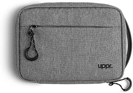 UPPERCASE Designs Organizer 9.0 Portable Electronic Accessories Travel Pouch with Leather Handle for Laptop Accessories, Chargers, Tech Gears, Gadgets, Cables, Cords, Power Bank (New Black Label)
