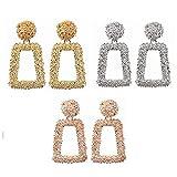 Daimay 3 Pares Set de aretes de aldaba con Puerta Cuadrada geométrica Declaración de Perno Diamante Completo Gran Punk de Cristal Pendientes Colgantes Bohemios - Plata / Oro / Oro Rosa