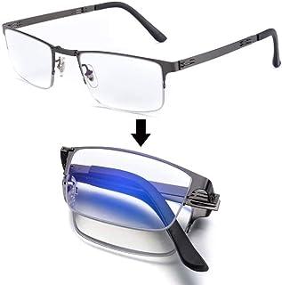 Comfortable Folding Discoloration Reading Glasses Male Anti-Blue Light Intelligent Multi-Focus Portable Old Old Glasses Beautiful (Color : Black, Size : +1.0)