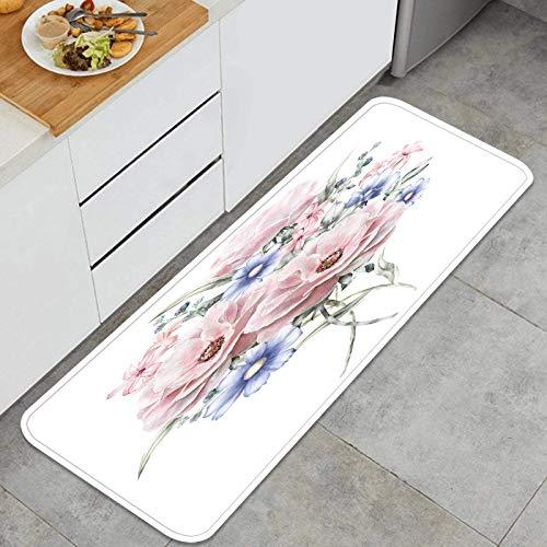 Cocina Antideslizante Alfombras de pie Acuarela Flores ilustración Floral Colores Pastel Decoración de Piso Confortables para el hogar, Fregadero, lavandería-120cm x 45cm
