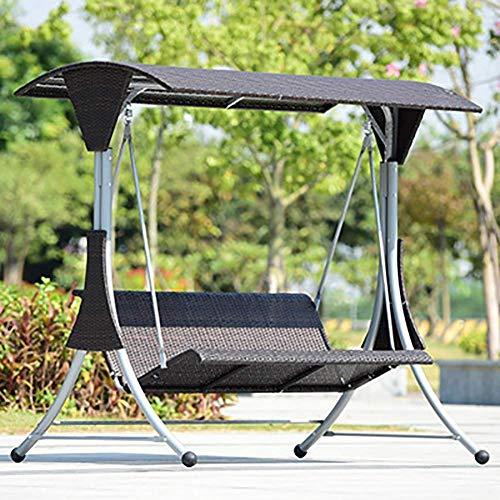 NOSSON Hängestuhl con soporte, Schaukel Hängematte jardín Patio Silla Metallstuhl Baldaquino Sonnenlicht y lluvia para el exterior, Patio
