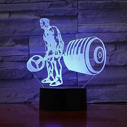 3D Slide LED Night Light Novedad Levantamiento de pesas 7 Interruptor de color Acrílico USB Lámpara de mesa visual Decoración del hogar Cabecera de noche Iluminación para dormir Regalo