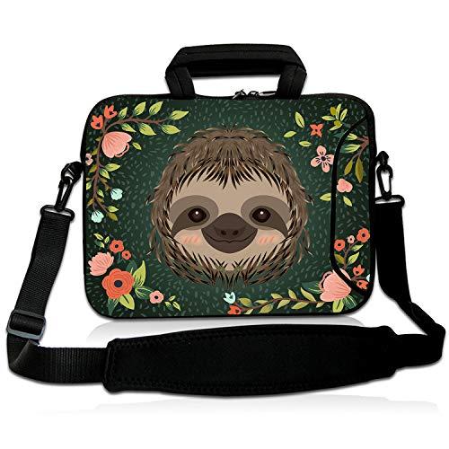 """Violet Mist 13""""15""""15.6""""Neoprene Laptop Sleeve Bag Waterproof Sleeve Case Briefcase Pouch Bag Adjustable Shoulder Strap External Pocket for Men Women(11'12'13'-13.3',Sloth Flower)"""
