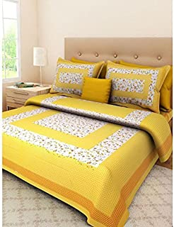 JAIPUR PRINTS Cotton Bedsheets for Double Bed King Size Double Bed Bedsheet with 2 Pillow Covers (King Size, Multi)