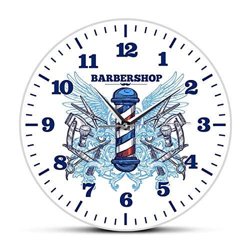 gongyu Reloj de Pared de diseño Moderno de peluquería, Cortador de peluquería, Poste, Reloj de Cuarzo de Barrido silencioso, Reloj de Pared Colgante para decoración de Club Hipster para Hombre