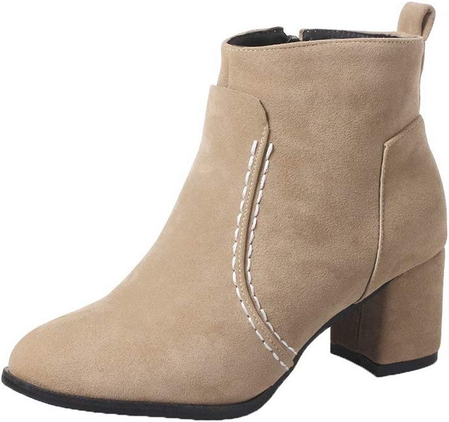 WeenFashion Women's Closed-Toe Kitten-Heels Frosted Low-Top Solid Boots, AMGXX121848
