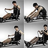 FESSLAND Fitness Training Rudergerät Rudergerät Home Silent Hydraulic Rudergerät Fitnessgeräte Multifunktions-Scull Ruderübung Taille Rücken (Farbe : Schwarz, Größe : 112x73x75cm) - 7