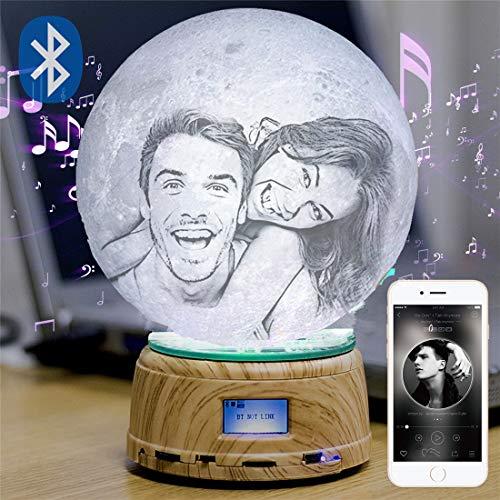 Foto/texto Lámpara de luna personalizada Luz de noche Impresión 3D Lámpara recargable Luz de luna LED Caja de música Bluetooth El mejor regalo Regalos personalizados