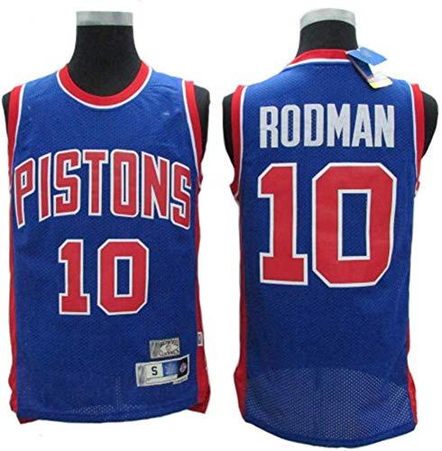 SHR-GCHAO Camisetas De Baloncesto/Detroit Pistons # 10 Dennis Rodman Entrenamiento De Baloncesto NBA Deportes Y Ocio Retro Gym Chaleco Sin Mangas De Secado Rápido Y Transpirable,Azul,L(175~180cm)