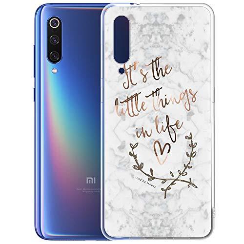 ZhuoFan Funda Xiaomi Mi 9, Cárcasa Silicona 3D Gel TPU Transparente con Dibujos Marmol Diseño Antigolpes de Protector Case Cover Fundas para Movil Xiao mi Mi9 2019, Rosa, 2