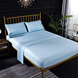 XIAOY 100% Polyester, Lightweight Super Soft and Easy to Care Microfiber Sheets, Double Ded Mattress Sheet Kit, Easy to Install Breathable Cool Sheets (Sky Blue)