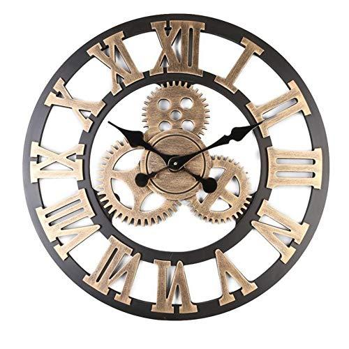 XJ&DD Industrielle Getriebe Design Wanduhr,Vintage Leise Ohne Ticken Wanduhr,große Roman Kreativ Wanduhr,Home Office Bar Uhr-l 80cm(31inch)