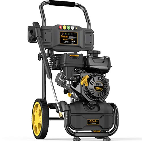BLUBERY 3200PSI Gas Pressure Washer, 2.4GPM 209CC High Power Washer, High Pressure Hose&Soap Tank, 5 Adjustable Nozzles, Cleaning for Driveway/Concrete/Vinyl Fencing , CARB Compliant