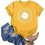 XOXSION Camiseta de mujer con cuello redondo, parte superior de diente de león, camiseta de manga corta, blusa informal, suelta, túnica B amarillo. S