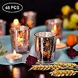 NEWLIGHTRUE Teelichtgläser 48 Stücke Rosegold Glas Votive Kerzenhalter Geschenk oder Tischdeko für Geburtstag, Ostern, Hochzeit, Muttertag (Rosegold) - 4