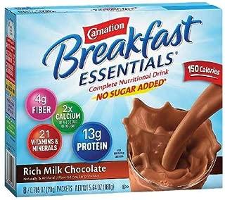 Carnation Breakfast Essentials Complete Nutritional Drink, No Sugar Added Packets, Rich Milk Chocolate, 8 count 0.7 oz