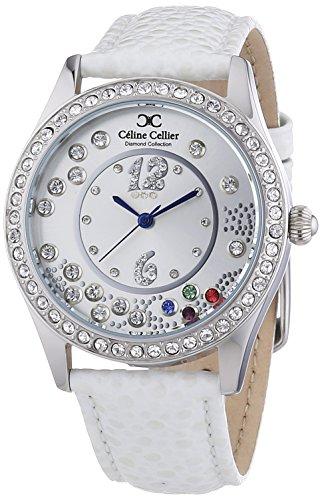 Céline Cellier Damen-Armbanduhr Analog Quarz Edelstahl Leder Diamanten - CC13G28