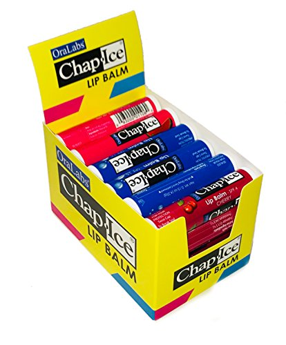 CHAPICE Assorted Lip Balm with Display Box Moisture SPF15 CherrySPF4 Watermelon 24 Count