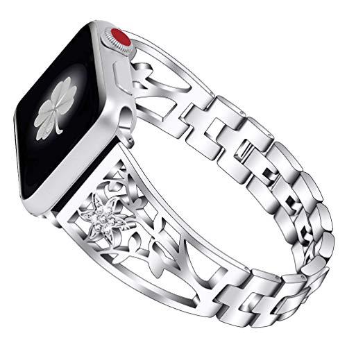 HappyTop - Pulsera para Apple Watch 1/2/3/4, ajustable, correa de reloj para mujer (plata, 42 mm/44 mm)