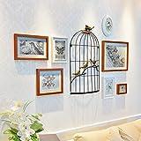 J-Love Juego Marcos Fotos, Jaula pájaros para Colgar en la Pared, combinación Fotos montada en la Pared, jardín Creativo, Sala Estar, Pared Fotos, decoración navideña