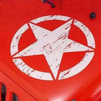 ERREINGE Sticker /ÉTOILE MILITAIRE US ARMY ARGENT Autocollant pr/éd/écoup/é in PVC compatible pour Auto Moto Camper Jeep Renegade 4x4 Suzuki cm 20