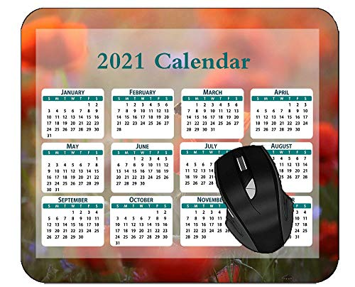 2021 Calendar Gaming Mousepad Red Flower Summer Nature Poppy Flower Mouse Pad for Home Office Working