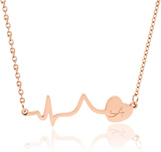 18k Rose Gold Plated Initial Heartbeat Necklace