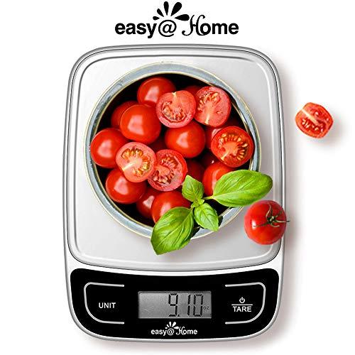 Easy@Home Báscula de Cocina Digital 5 kg o 11 lbs - Báscula del alimento con una alta precisión 1g multifunción - Báscula de medición