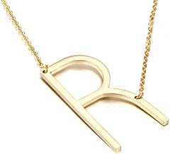 MOMOL Sideways Initial Necklace 18K Gold Plated Stainless Steel Large Big Letters Pendant Necklace Script Name Monogram Necklaces for Women