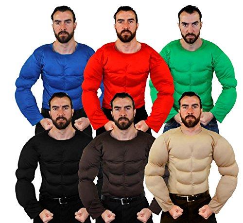Adulto Músculos Pectorales - Perfecto Accesorio Traje Halloween o para Superhéroe Disfraz - Estándar y tamaño extra grande - Disponible en 6 COLORES: Beis / Piel, marrón, negro, verde, rojo, Azul