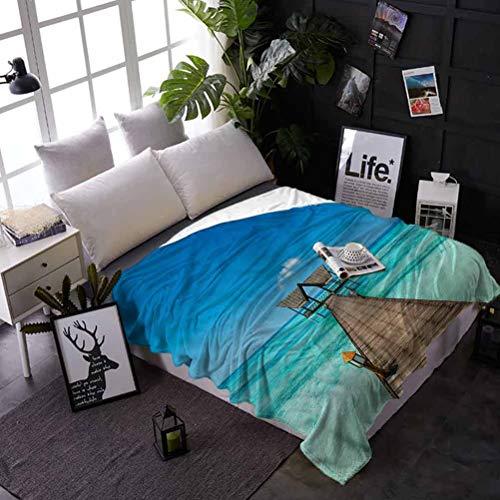 shirlyhome Bed Flannel Blanket Throw Tropical Air Conditioner Blanket Wooden Deck Exotic Ocean Best Gift for Women, Men, Kid, Teen 60x80 Inch