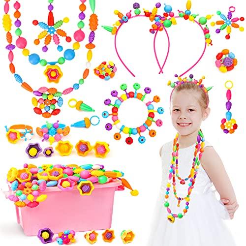 Sanlebi Pop Beads Girls Toys Age 3 4 5 6, 650+Pcs Jewellry Making Kit Birthday Gift for Little Girls 3-8 Year Old, Craft Set Creativity Toys for Making Bracelet