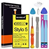 Battery for LG Stylo 5, MAXBEAR 3800mAh Li-Polymer Replacement Battery Compatible for LG Stylo 5 BL-T44 LMQ720PS LMQ720CS LMQ720MSLM-X520 Q60 X525EAW LMQ720QM5 LMQ720QM6 Q720MS with Repair Tool Kit.