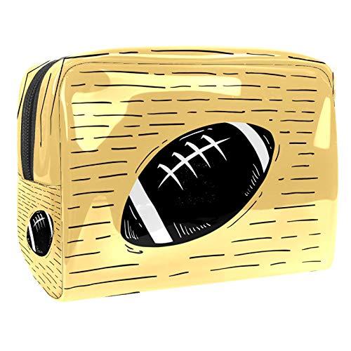 Reise Make Up Tasche Schwarzer American Football Portable Kosmetiktasche Schmuckkästchen Damen schmuckaufbewahrung für Kosmetika Make-up Pinsel Ringe Ohrringe Halsketten 18.5x7.5x13cm