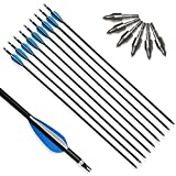 SHARROW 6/12 Piezas Flecha de Aluminio Flechas de Caza para Arco Compuesto y Arco Recurvo Tiro con Arco de Caza (12)