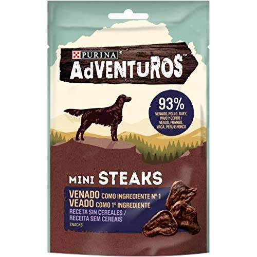 Nestlé Purina Adventuros Snacks y chuches para Perros Mini Steaks Venado 70 g - Pack de 7 ⭐